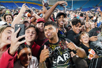 Latrell Mitchell has been swamped by fans at every public outing since signing with Souths.