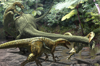 An artist's impression of a fgroup of Australovenator wintonensis attacking a plant-eating dinosaur in the ancient outback.