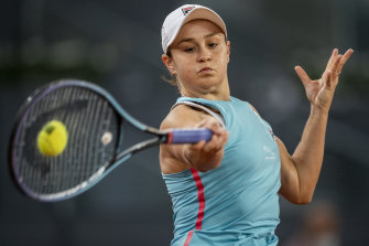 Ash Barty en route to the second round in Madrid.