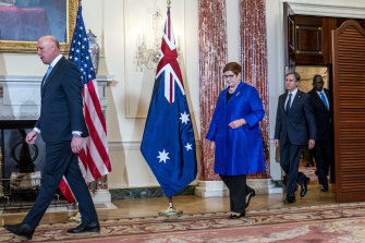 A show of solidarity: Peter Dutton, Foreign Minister Marise Payne, US Secretary of State Antony Blinken, and Defence Secretary Lloyd Austin.