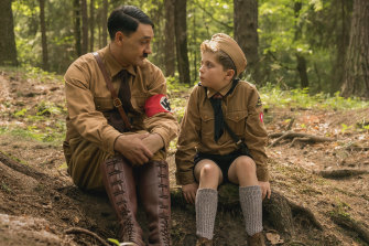 In the film adaptation of Christine Leunens' novel, the director, Taika Waititi, makes Hitler come out of Jojo's imagination for the audience to see.