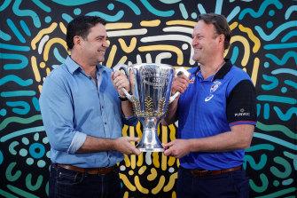 AFL Premiership Cup presenters Garry Lyon and Chris Grant at Yagan Square.