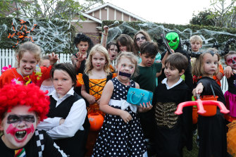Trick or treaters in popular Willoughby street last year.