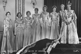 Queen Elizabeth with her maids of honour, including Lady Anne, at Buckingham Palace on the day of her coronation.