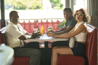 George (Courtney B. Vance), Atticus (Jonathan Majors) and Letitia (Jurnee Smollett) in a scene from the first episode of Lovecraft Country.