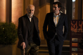 Nicholas Braun with James Cromwell in Season 3 of Succession.