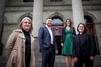 Greens candidates Amanda Stone, Edward Crossland, Sophie Wade and Gabrielle de Vietri outside Fitzroy Town Hall on Friday.