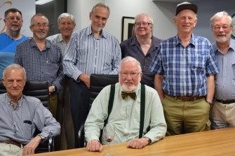 Fine Music founders: Standing L-R: Colin Wrightson, David James, Max Benyon, Charles Barton, Trevor Jarvie, Grahame Wilson, Douglas Keech. Seated L-R: David Rumsey (deceased), Howard Cocks.