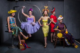 From left: Peta Bell wears Alice McCall skirt and blouse, Marla Millinery hat, vintage scarf, Lovisa earrings and vintage shoes. Angela Menz wears her own designed and made dress and hat, assorted neck pieces from her archive, Bionda Castana shoes and Cotton On sunglasses. Elis Crewes wears Hartono Gan (Indonesia) dress, Taboo Millinery headpiece and earrings, and YSL shoes. Caitrin Kelly wears Felicity Northeast Millinery hat, Fiona's of Mornington dress, Bag Queen clutch and Carvela shoes. Carle Rutledge wears Roksanda dress, own designed and crafted hat, MNG shoes, Mimco jewellery and Bag Queen clutch.