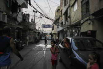 Children in the streets of Ain al-Hilweh, the Palestinian camp in Sidon, Lebanon.