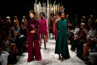 Models in Yousef Akbar's show at Mercedes-Benz Fashion Week Australia in 2017.
