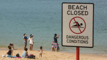 Beaches were closed, but some swimmers still entered the water at La Perouse.