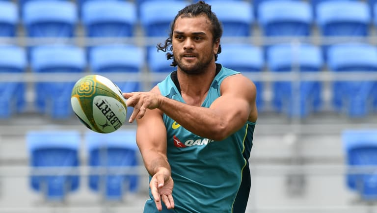 Wallabies player Karmichael Hunt during a team training session at CBUS Stadium on the Gold Coast.