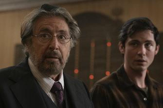 Al Pacino as Meyer Offerman and Logan Lerman as Jonah Heidelbaum in Hunters.