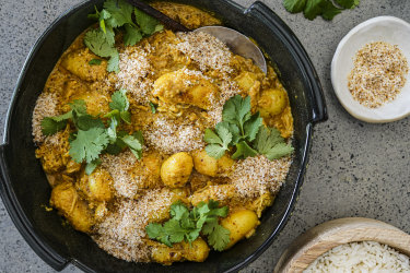 Cheat's Malaysian creamy coconut curry with chicken and potatoes.