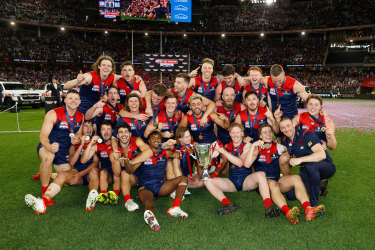 The Demons celebrate their grand final win.