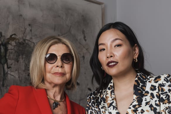 Fashion designer Carla Zampatti and Singer Dami Im photographed at Carla's home in Woollahra. Carla is the featured designer at Melbourne Fashion Festival and Dami will be performing during the show. Photographed Monday 17th December 2018. Photograph by James Brickwood. SMH NEWS 181217
