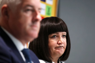 Rugby Australia chairman Cameron Clyne and chief executive Raelene Castle.