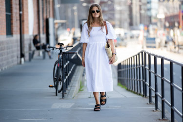 A chunky sandal and a floaty dress ... can you get more 2020?
