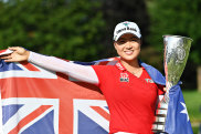 Minjee Lee with the Evian trophy.