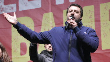 Matteo Salvini of the League speaks to supporters during a campaign event in Bibbiano, Emilia-Romagna, Italy, last week.