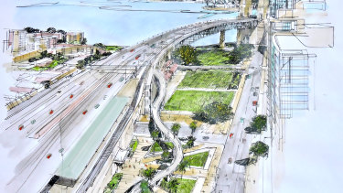 The linear option would reduce the risk of collisions between cyclists and pedestrians near Milson Point station.