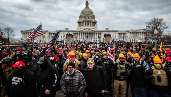Pro-Trump supporters outside the US Capitol on January 6.