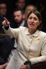 Premier Gladys Berejiklian in action during the first question time of the new Parliament.
