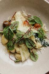Potato gnocchi with zucchini.