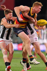 Adelaide's Tom Lynch was forced out of the game early with a hamstring injury.