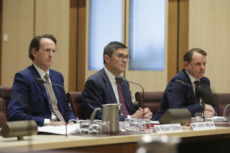 "Australian Sports Commission acting CEO Robert Dalton, chair John Wylie and chief operating officer Luke McCann appear before a Senate committee examining the ""sports rorts"" affair."