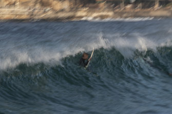 A surfer at Tamarama beach on Wednesday.