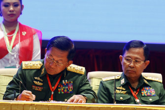 Myanmar's coup leader Aung Hlaing, left, with Vice Senior General Soe Win.
