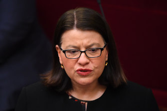 Victorian Health Minister Jenny Mikakos was heckled throughout her speech.