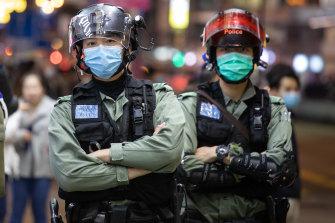 Riot police in Hong Kong.
