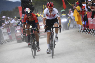 A bit dusty: Giulio Ciccone, right,  and Dylan Teuns ride a grave section during stage six.