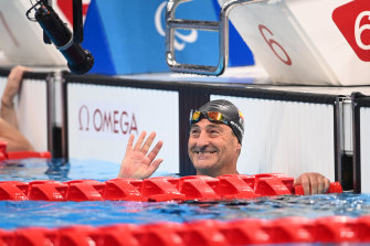 Sebastian Rodriguez after competing in his mixed 4x50m relay on Thursday at the Tokyo Aquatic Centre.