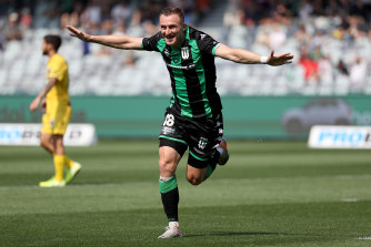 Besart Berisha celebrates one of his two first-half goals on Sunday.