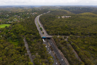 Traffic on the M1 Pacific Motorway on Boxing Day near Mount Colah in NSW