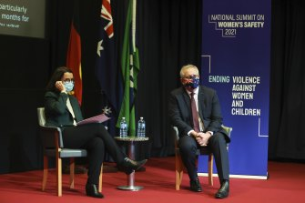 Minister for Families and Social Services and Minister for Women's Safety Anne Ruston and Prime Minister Scott Morrison on Monday.