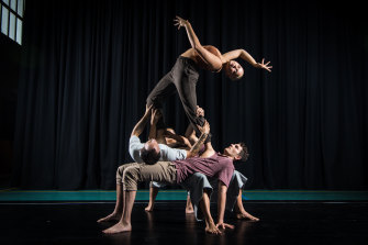 Arterial, part of the Yirramboi Festival, features the Na Djinang Circus troupe, with performers (left to right) Dylan Singh, Harley Mann, Maggie Church-Kopp and Jada Narkle (top).
