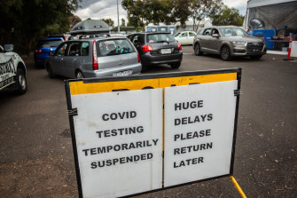 Signs at a testing clinic in West Footscray on Saturday.