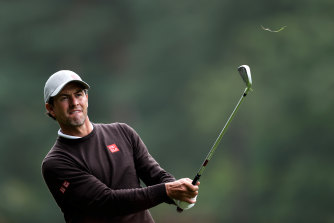 Adam Scott plays his second shot on the 9th hole during day one of the PGA Championship.