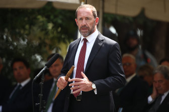 NZ Justice Minister Andrew Little speaks at the Treaty grounds Te Whare Runanga in Waitangi.