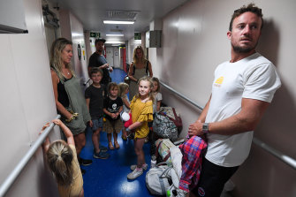 The Smith family were part of the first wave of evacuees from Mallacoota.