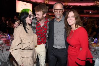 The siblings – Billie and Finneas – with parents Maggie Baird and Patrick O'Connell at Billboard Women in Music 2019.