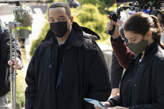Ice-T and Jamie Gray Hyder on the set of Law & Order: SVU.
