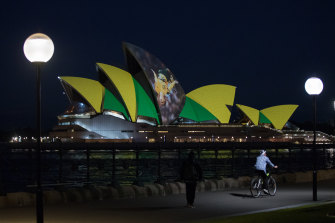 The Sydney Opera House lit up in support of the 2023 Women's World Cup bid on Thursday night.