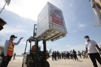 A shipment of Sinovac lands in Cambodia in June 2021.
