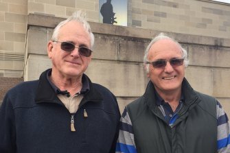 Henry Verhoeven (left) and Alan Andrews at the War Memorial